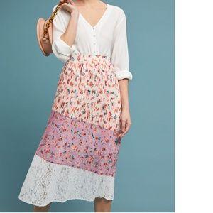 NWT Anthropologie LAIA Pleated Floral Midi Skirt